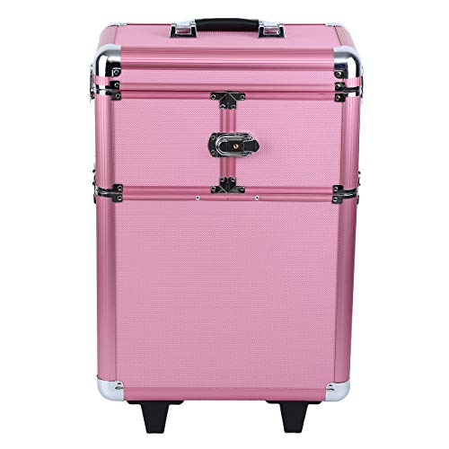 Muguang beauty case da viaggio cofanetto trucco custodia organizer da viaggio portatile professionale trolley make up case(rosa)