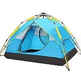 Hewolf Tente Automatique Dôme de Camping pour 3-4 Personnes Version Mise à Jour de la Tente hydraulique Tente Double Toit à Pop up Tente UV avec Sac de Transport - 200 × 180 × 135cm (Bleu)
