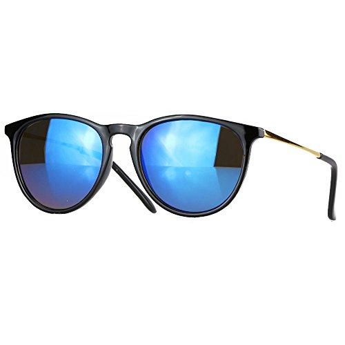 caripe Retro Sonnenbrille Hornbrille Brille -139 (big - schwarz - blau verspiegelt)
