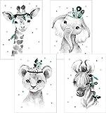 Lalelu-Prints 4er Set Boho mint grau Bilder Kinderzimmer Deko Poster Junge Mädchen DIN A4 Indianer Giraffe Elefant Löwe Zebra Kinderbilder Babyzimmer Babybilder Wandbilder