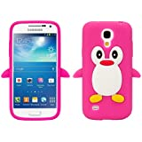 kwmobile Hülle für Samsung Galaxy S4 Mini i9190 / i9195 - TPU Silikon Backcover Case Handy Schutzhülle - Cover klar Pinguin Design Pink Weiß