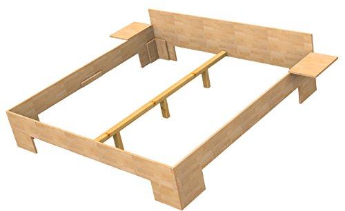 Baßner Holzbau 18mm Echtholzbett Massivholzbett Buche 140x200 Fuß II 49cm Rahmenhöhe