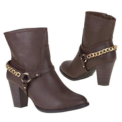 Damen Schuhe, 186A, STIEFELETTEN Dunkelbraun