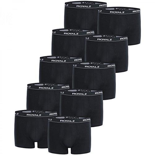 ROYALZ Boxershorts (10 Stück) Herren Unterwäsche Set Unterhosen 95% Baumwolle 5% Elasthan, Farbe:Schwarz, Größe Unterwäsche:XXL (Naht Elasthan)