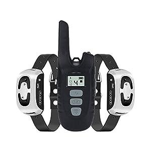 TZLong Collier de Dressage pour Chien, Collier Anti Aboiement avec Télécommande de 450 Mètres Récepteur Étanche IPX7 Rechargeable avec 4 Modes Vibration/Beep Sonore/Lumière LED