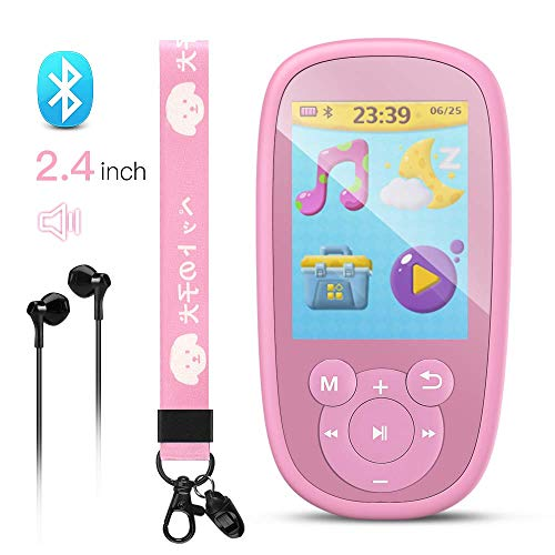 AGPTEK Bluetooth 4.0 Kinder MP3 Player 8GB mit Lautsprecher und Lanyard, Musik Player mit 2.4 TFT Farbbildschirm, Wiegenlied, UKW-Radio usw. unterstüzt bis zu 128GB Speicherkarte, Pink