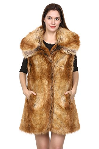 adelaqueen-clearance-womens-shaggy-fox-faux-fur-winter-vest-yellow-size-xl