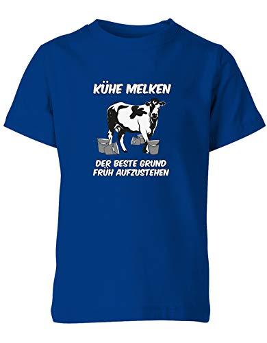 Jayess - Landwirt Kinder Shirt - Jungen - Kühe melken der Beste Grund früh aufzustehen - Royalblau - Gr. 152-164 - Kuh Melken Der