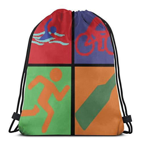 Desing shop Swim Bike Run Beer 3D Print Drawstring Backpack Rucksack Shoulder Bags Gym Bag for Adult 16.9