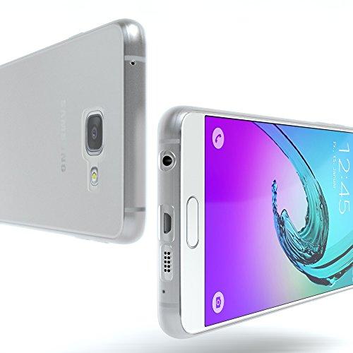 Samsung Galaxy A3 (2016) Hülle - EAZY CASE Ultra Slim Cover Handyhülle - dünne Schutzhülle aus Silikon in Transparent Matt Transparent / Weiß