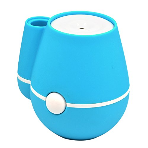 Gosear Mini Florero Humidificador Aire Fresco Portable Mist humidificadores con operación Mute USB para Oficina en casa habitación Dormitorio Azul