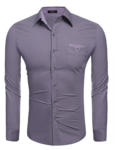 Hasuit Herren Hemd Baumwolle Slim Fit Langarm Farbekombination Basic Mode Grau