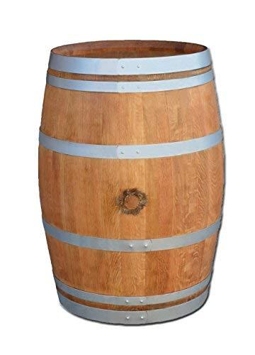 Temesso Tonneau de vin en fût de chêne affillé avec Plateau de Table Noyer 100cm (poncé + huilé + Cercles Argent)
