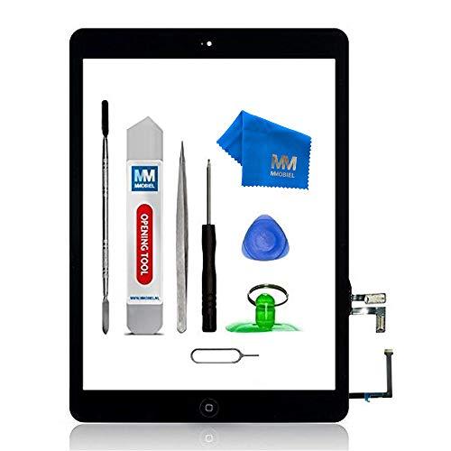 MMOBIEL Digitizer Display Glas für IPad Air (Schwarz) 9.7 Inch Touchscreen Ersatzteil Inkl Flex Home Button + Kamera Halterung + Klebesticker und Werkzeugset mit Anleitung Touch-screen-linse Digitizer