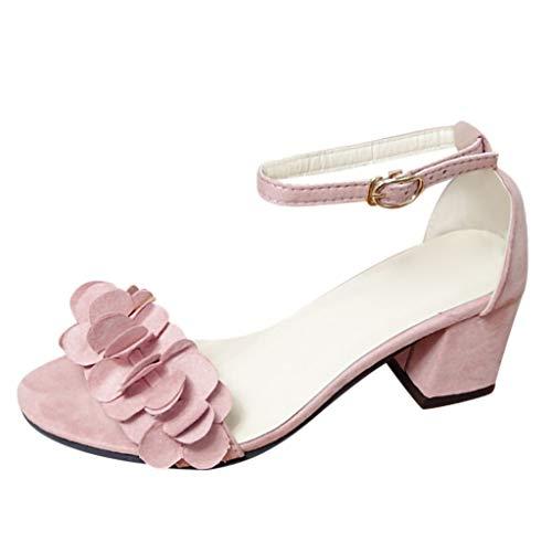 Vovotrade Damen Riemchensandale,Blume Sandale,Sandalette,Sommerschuh,Absatz, Schwarz, Pink, Grau 35-40 - Schuhe : Damen Kleidung Rosa