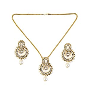 Saraa Dazzling Cubic Zirconia Pearl White and Gold Necklace Set for Women