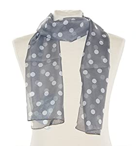 Striessnig Wien - Grau weiß gepunktetes Halstuch, flottes Damen Schaltuch weiß gepunkteter Schal, ca. 36 x 160 cm