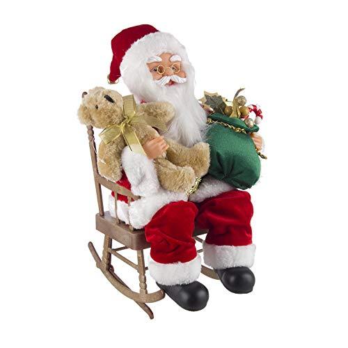 Milo srl babbo natale sedia dondolo pupazzo in movimento musicale tessuto statuetta h 36 cm decorazione natalizia