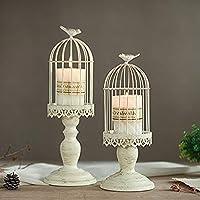Sziqiqi Candeleros de Retro con Forma de Jaula de pájaro, Decoraciones para la Mesa de Boda, Decoraciones caladas de Hierro, S + L