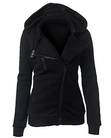 Minetom Women Autumn Spring Winter Hooded Coats Side Zipper Hoodies Casual Sweater Long Sleeve Pullover Black UK