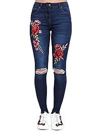 PILOT® floral genou déchiré brodé jeans skinny