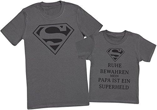 Ruhe bewahren mein papa ist ein superheld II - Passende Vater Kind Geschenk-Set - Vater T-Shirt und Kinder T-Shirt - Charcoal Grau - M & 3-4 Jahre (Kinder-superhelden-kleidung)
