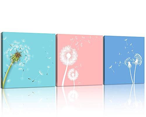 SotRong Art Moderner 3-teiliger Leinwanddruck Natur Blumen Pusteblume Wandkunst Weiße Blumen Druck auf Leinwand Das Bild Blume für Wohnzimmer Decor Giclée-Gerahmtes Kunstwerk für Wanddekoration Multi -