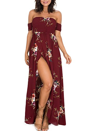 GREMMI Sommerkleider Damen Blumen Maxi Kleid Schulterfreies Abendkleid Strandkleid Party Schulter Kleider Chiffon Kleid- Gr. 42(XL) ,Rot Chiffon Sommer Kleider