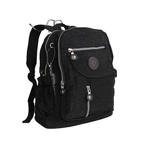 Stoff Rucksack von Bag Street - Fahrradrucksack, Reiserucksack, Wanderrucksack, Sportrucksack, Nylon Rucksack (Schwarz) - präsentiert von ZMOKA®