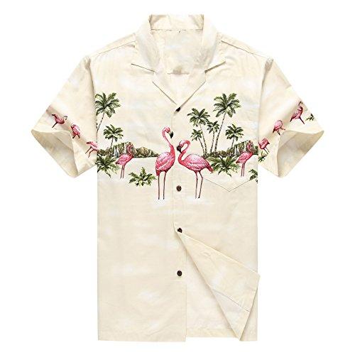 Hecho-en-Hawaii-Camisa-hawaiana-de-los-hombres-Camisa-hawaiana-LFlamencos-Rosados-Crema