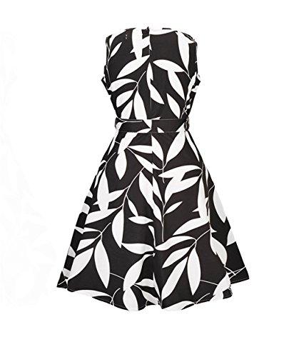 Kleid Damen 50er Retro Audrey Hepburn Vintage Swing Dress Cocktail Schwarz 2