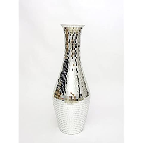 Grande Vaso da Terra con Mosaico in Vetro 100 cm, Ceramica, Argento