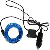 SODIAL(R) 3M Flexible EL cable Partido de neon del coche del LED luz del tubo de la cuerda + 12V Inversor - Azul