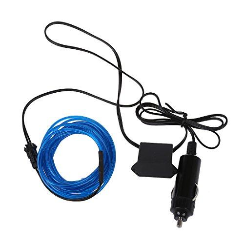 TOOGOO(R) 3M Flexible EL Wire Neon-LED-Auto-Licht-Party Rope Tube + 12V Wechselrichter - Blau
