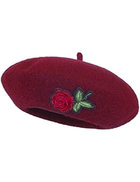 AWAYTR Niños Chicas Sombrero Flor rosa Bailey Cúpula de la Boina Color sólido