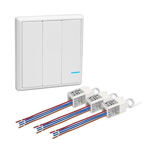 1000 Rf Kit (TSSS 3 Tasten Hotel Bar Wireless Lichtschalter Funkschalter mit Empfänger Kit - Außen 600m Drinnen 40m - RF 433Mhz Ferngesteuert Deckenlampe LED Lampen Birne IP54 Damp Proof Schalter)