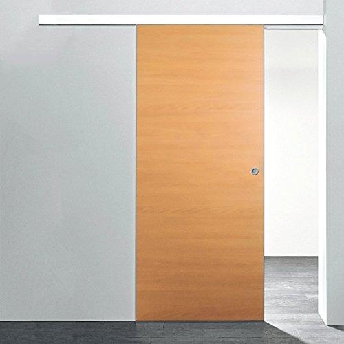 inova Holz-Schiebetür 880x2035mm Buche Zimmertür Innentür Komplettset mit Laufschiene & Holztür, Griffmuschel