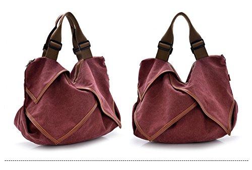 MoliMode Damen Canvas Schultertasche Handtasche Damen Arbeit Schule und Lässige täglich Burgund