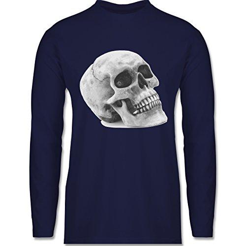 Shirtracer Piraten & Totenkopf - Totenkopf Skull - Herren Langarmshirt Navy Blau