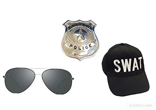 seemeinthat SMIT Swat Team Hat Cap Stag Hen Police Badge FBI Detective Inspector Aviator Shades Glasses