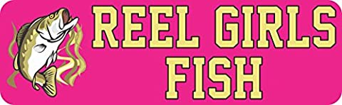 StickerTalk® Brand 10in x 3in Bass Reel Girls Fish Bumper Magnet Magnetic Fishing Car Magnets