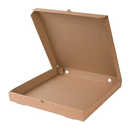 BIOZOYG 100x Pizzakarton | Pizzaschachtel | 66% Recyclingkarton, braun | 31x31cm, quadratisch | 100% biologisch abbaubar, kompostierbar | mit Lochung | ohne Plastik | extra stark | stabil