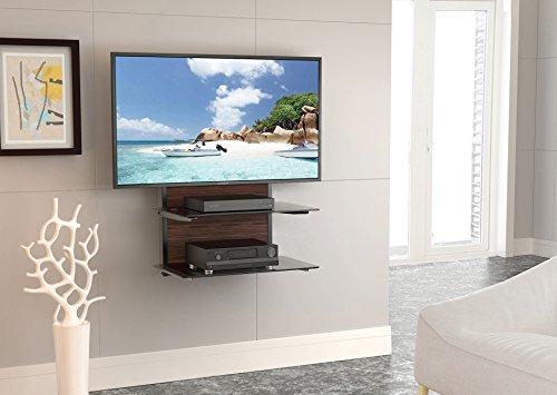fitueyes 2Etagen Holz AV-Regal Komponenten Wandhalterung mit Ablage aus Sekuritglas für DVD/Xbox One/PS4/TV Component ds205401gb (Regal Wandhalterung)