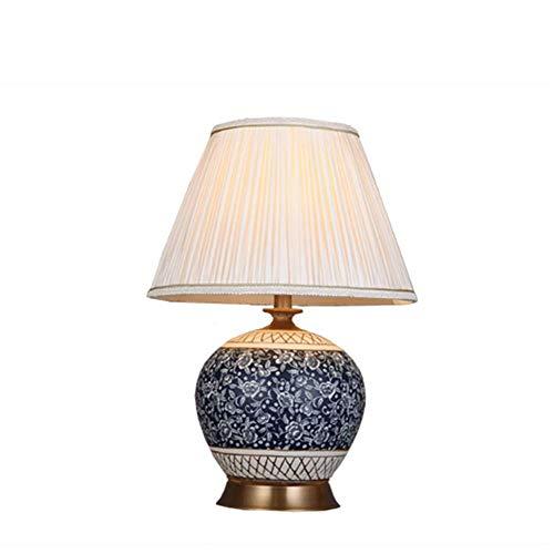 NNDQ Blaue und weiße Hochtemperatur Keramik Tischlampe, Neuer chinesischer Stil, weißer Stoffschirm, Wohnzimmer Schlafzimmer Dekoration Tischlampe 21