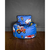 HomeZone® Kids Bean Bag Chair | Blue Pink Green Beige | Animals Cars Fairies Princess Dinosaurs Ocean | Covers and Beans