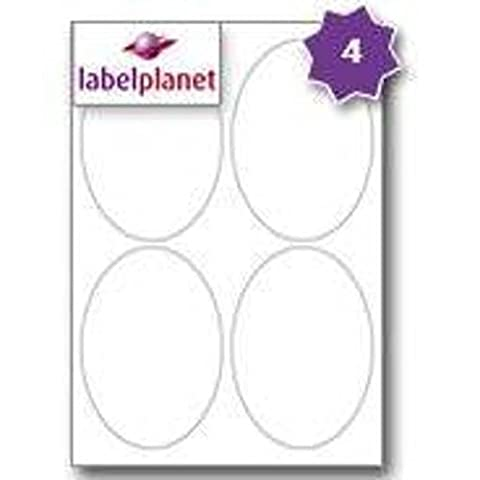 4 Per Page/Sheet 5 Sheets (20 LARGE OVAL Sticky Labels) Label Planet® A4 White Blank Paper Plain Matt Self-Adhesive Laser/Inkjet/Copier Printer Printable Stickers, 95 x 134 MM, UK LP4/95OV Multi-Purpose, Used For Wine Bottles/Jars, Jam Free