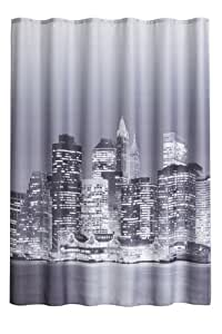 duschvorhang manhattan new york 180cm breit x 200cm lang textil ohne ringe schwarz grau wei. Black Bedroom Furniture Sets. Home Design Ideas