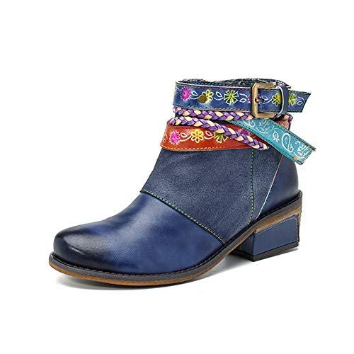 LEFT&RIGHT Damenmode Martin Stiefel, Leder Casual Oxford Stiefel Warme Booties Handgemachte Retro Bohemian Splice Pattern Lederstiefel,EU39=24.5 - Handgemachte Booties