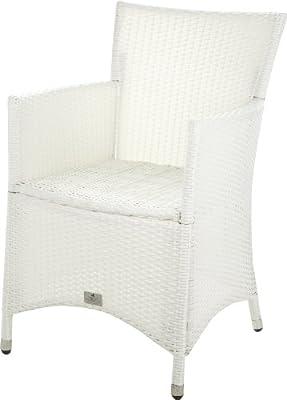 Gartenfreude Stuhl Polyrattan, Aluminiumgestell, stapelbar, Weiß, 60 x 56 x 86 cm