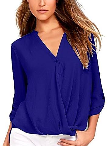 Dokotoo Blouse Femme Chemisier Fluide en Mousseline T-shirt Top Manche Longue Col en V Bleu